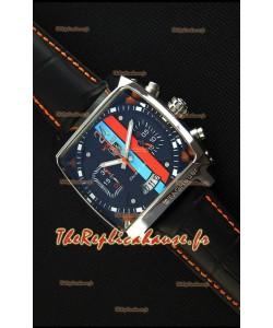 Montre Tag Heuer Monaco 24 Quartz avec cadran à rayures rouge/bleu Réplique