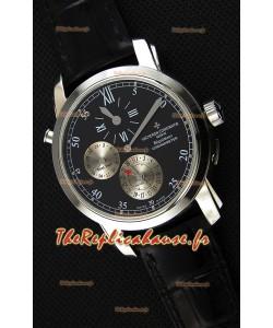 Vacheron Constantin Malte Dual Time Regulator cadran noir Montre Réplique