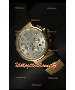 Chronographe Ulysse Nardin Marine avec cadran noir avec chiffres arabes en acier et or rose - Réplique miroir 1:1