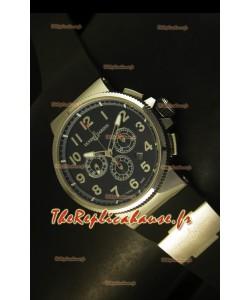 Chronographe Ulysse Nardin Marine avec cadran noir à chiffres arabes en acier inoyxdable - Réplique miroir 1:1
