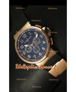 Chronographe Ulysse Nardin Marine avec cadran noir à chiffres arabes noir et or rose - Réplique miroir 1:1