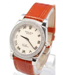 Rolex Cellini Cestello Femmes Swiss Montre Cornes et Lunette de Diamants Bracelet de Cuir Face Blanche Romaine