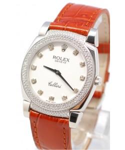 Rolex Cellini Cestello Femmes Swiss Montre Cornes, Lunette et Heure de Diamants Bracelet de Cuir Face Blanche