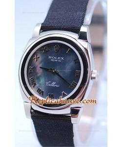 Rolex Cellini Cestello Femmes Swiss Montre Bracelet en Nylon Face Romaine Perle Noire