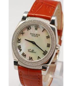 Rolex Cellini Cestello Femmes Swiss Montre Face Nacrée Blanche Bracelet de Cuir Cornes et Lunette de Diamants